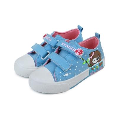 甜美女孩款四季兒童時尚帆布板鞋(藍)