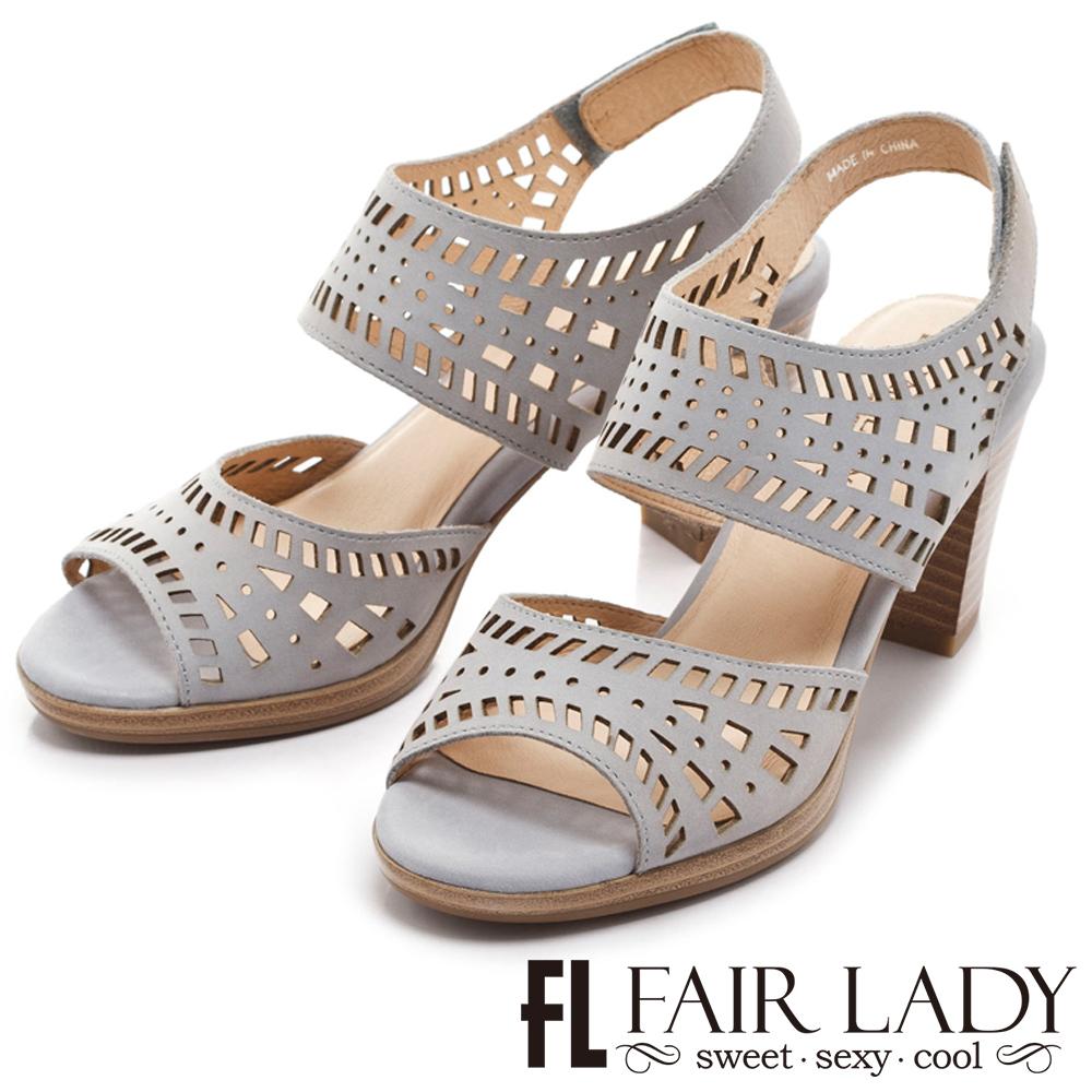 Fair Lady 絕美藝術縷空高跟涼鞋 藍