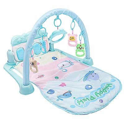 嬰兒早教健身架踢踢琴 健力架腳踏鋼琴遊戲毯-藍色