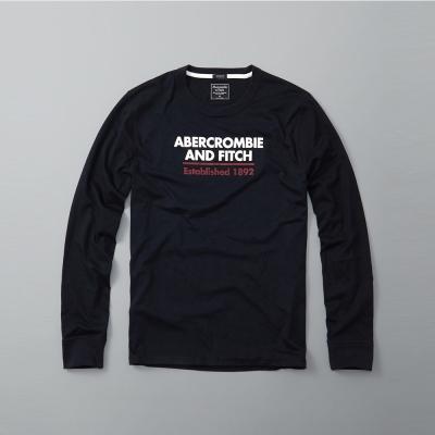 A&F 經典文字設計長袖T恤-深藍色 AF Abercrombie