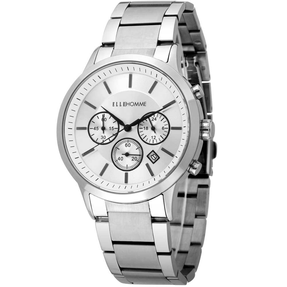 ELLE 沉穩內斂無時標三眼不鏽鋼腕錶-銀色/黑色-43mm