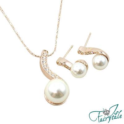 伊飾童話-流線珍珠-耳環-項鍊組
