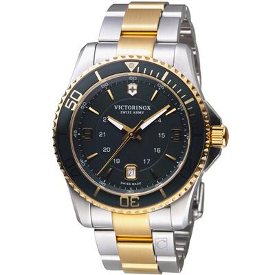 VICTORINOX瑞士維氏Maverick GS系列潛水腕錶-銀色X金色/43mm
