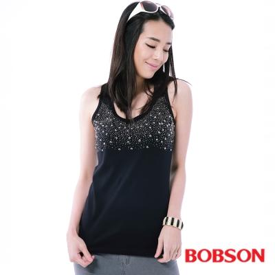 BOBSON  女款搭配蕾絲鋁片背心-黑色