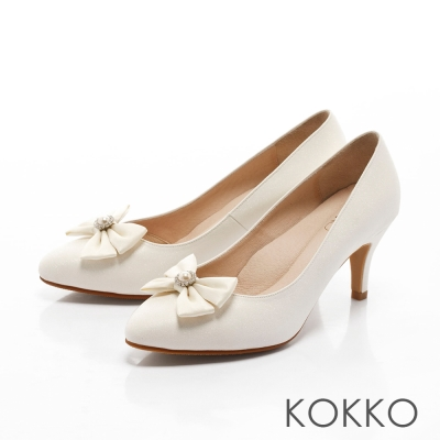 KOKKO-浪漫復古蕾絲手工蝴蝶結高跟鞋-白色