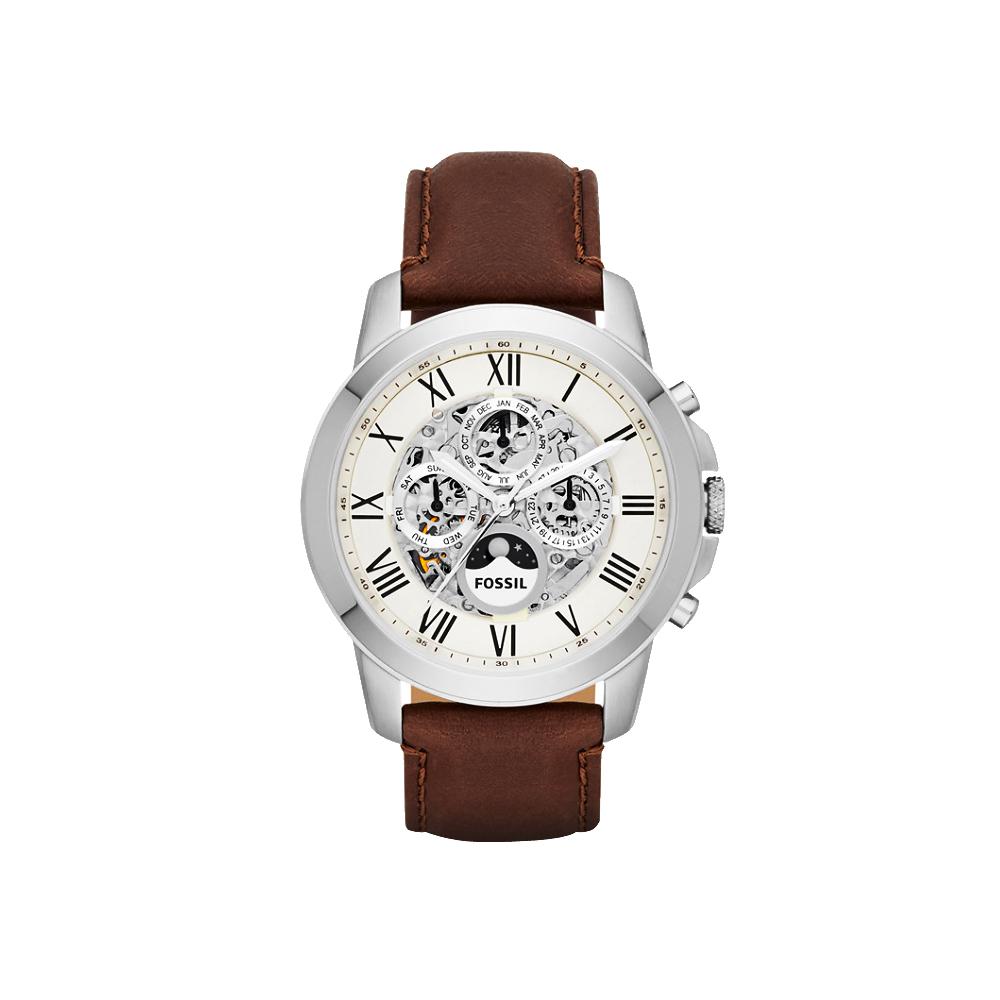 FOSSIL Grant 領導者全日曆時尚機械腕錶-銀x咖啡/44mm