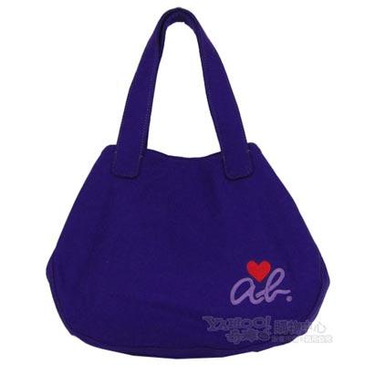 agnes b ab heart 絨布兩用造型包(小/紫)