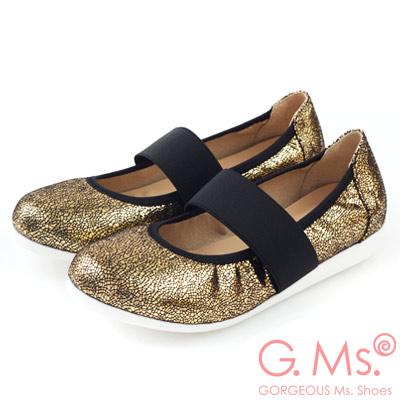 G.Ms. MIT系列-閃亮爆裂紋瑪莉珍娃娃鞋-流行金