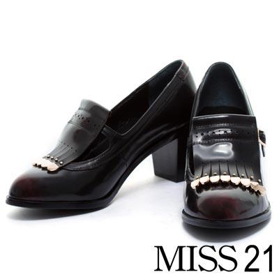 粗跟鞋MISS 21 經典極簡瑪麗珍可拆式流蘇踝靴粗跟鞋-棗紅