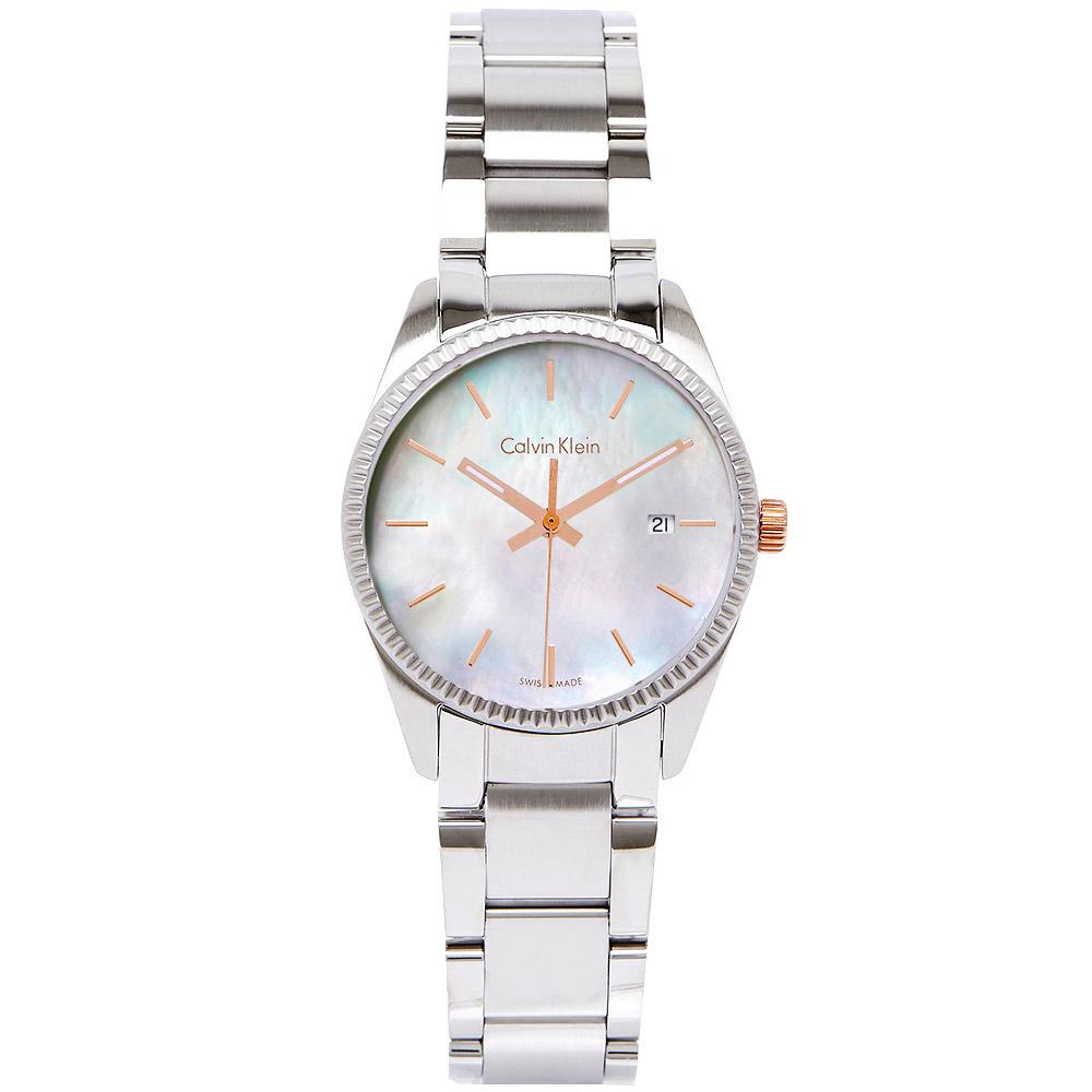 CK Calvin Klein  Alliance 奢華珍珠貝女性腕錶-白/30mm