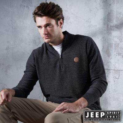 JEEP 開襟圓領刷毛長袖針織衫 -深灰色