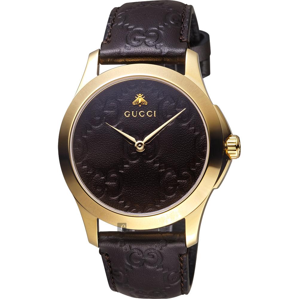 GUCCI古馳 G-Timeless 蜜峰雙G手錶-咖啡x金框/38mm