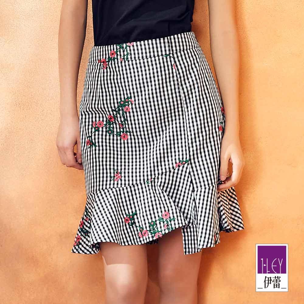 ILEY伊蕾 精緻繡花裝飾格紋褲裙(黑)