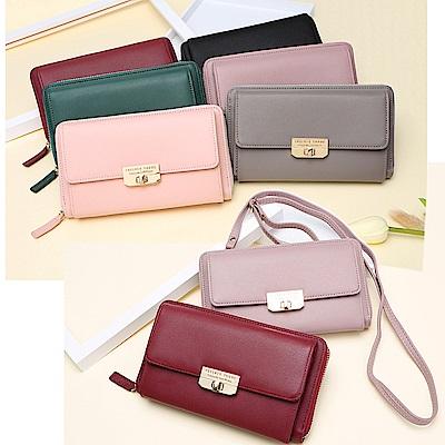 leaper多功能夾層可背手拿包手機包錢包 共5色