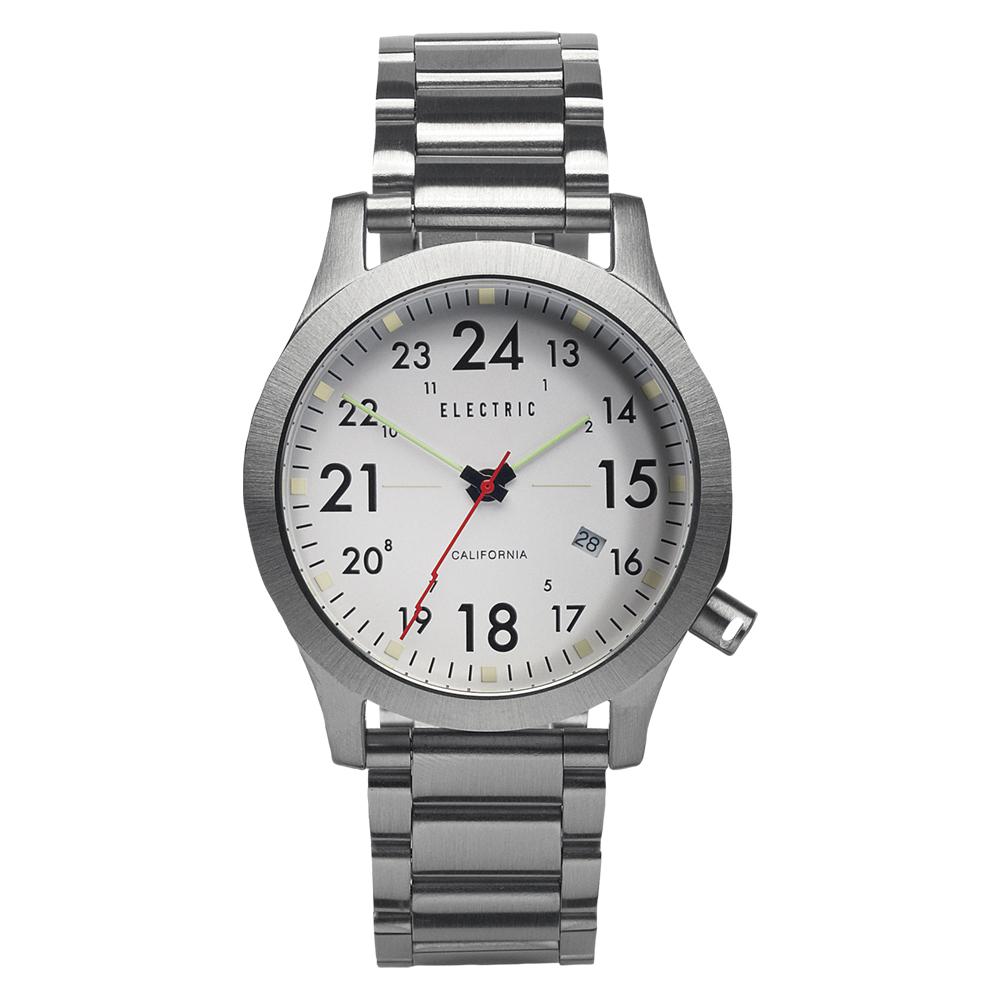 ELECTRIC FW01系列-摩登雅痞風潮腕錶-白面x銀鋼帶/40mm