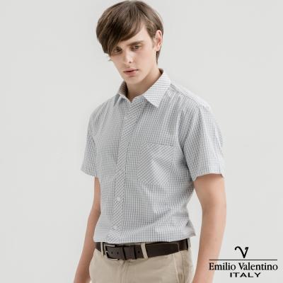 Emilio Valentino范倫提諾英倫簡約短袖襯衫-黃藍細格