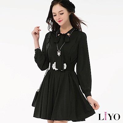 LIYO理優歐風蝴蝶結領帶洋裝S-XL
