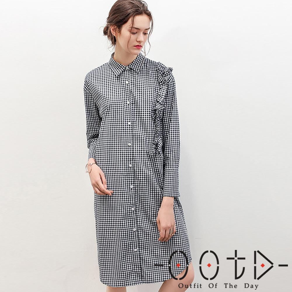 格紋荷葉長袖襯衫洋裝(黑色)-OOTD