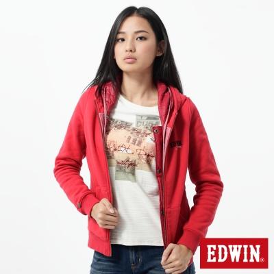 EDWIN 外套 繡花兩件式防寒連帽外套-女-紅色