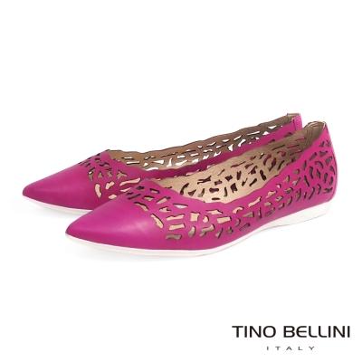 Tino Bellini 巴西進口抽象圖騰鏤空尖頭娃娃鞋_桃紅