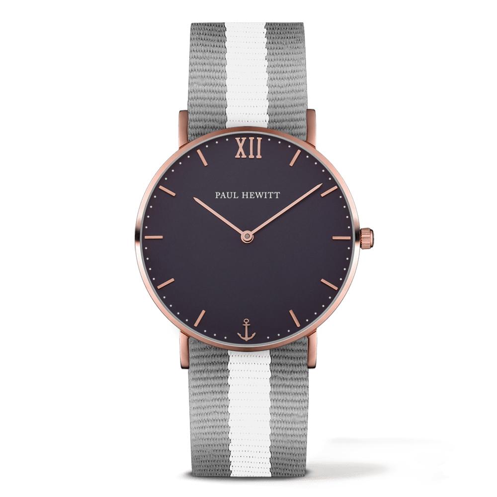 PAUL HEWITT Sailor Line灰白尼龍錶帶海軍藍x玫瑰金框手錶39mm