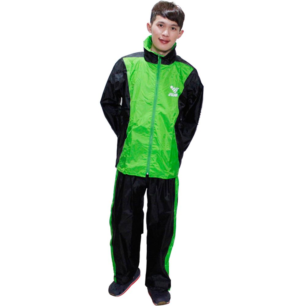 新二代 JUMP 挺酷套裝休閒風雨衣-黑綠