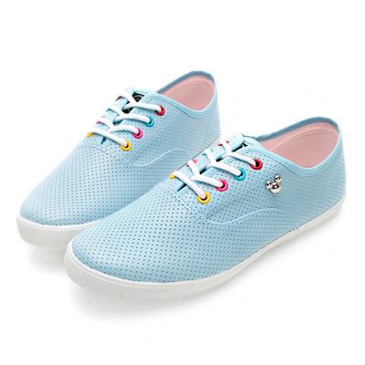 DISNEY 朝氣滿點 彩色鞋孔米奇仿皮休閒鞋-藍