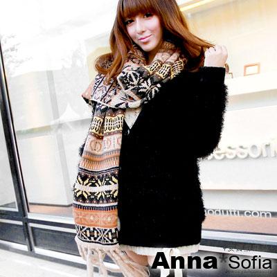 AnnaSofia-聖誕雪花-超長流蘇圍巾-黃駝系