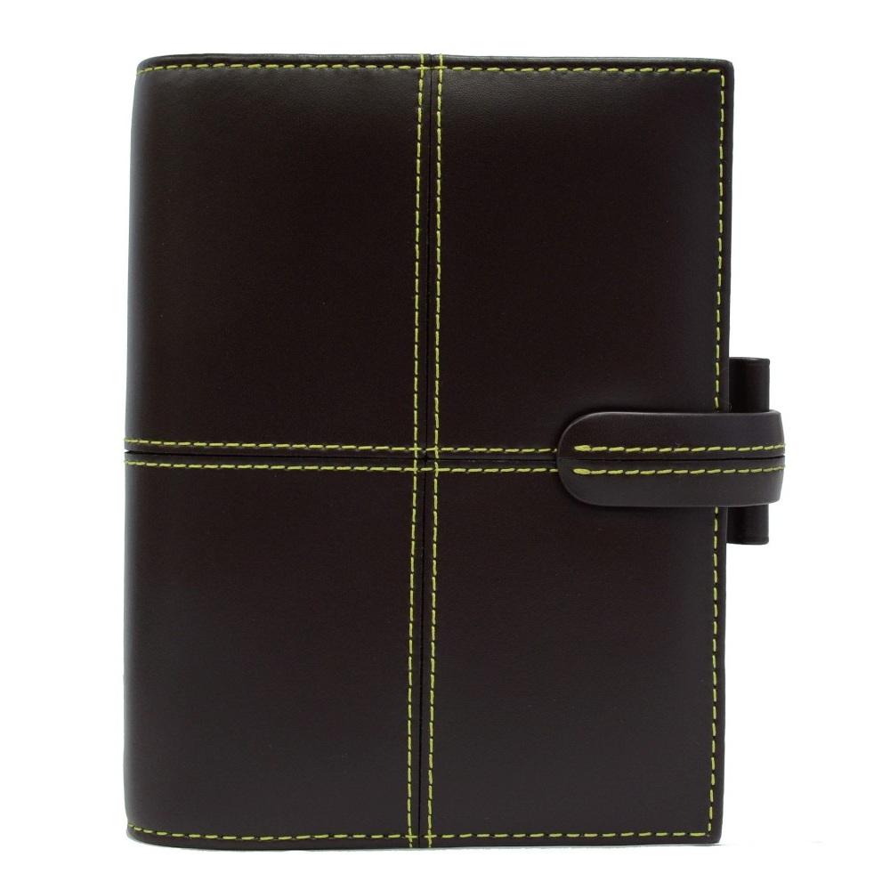 filofax CLASSIC系列  經典十字口袋型萬用手冊(小)-咖啡/黃線
