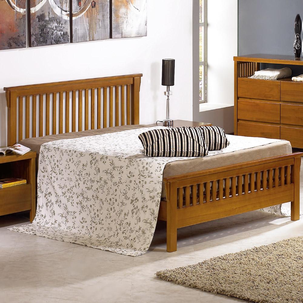 居家生活 圖文第6尺柚木雙人床架(不含床墊)