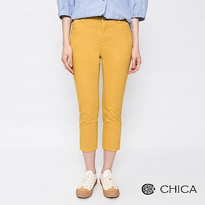 CHICA 氧氣女孩原色七分修身直筒褲(2色)