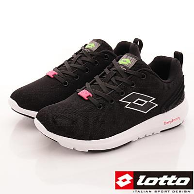 Lotto樂得-記憶泡綿跑鞋款-FI070黑(女段)