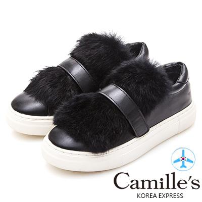 Camille's 韓國空運-兔毛魔鬼氈休閒鞋-黑色