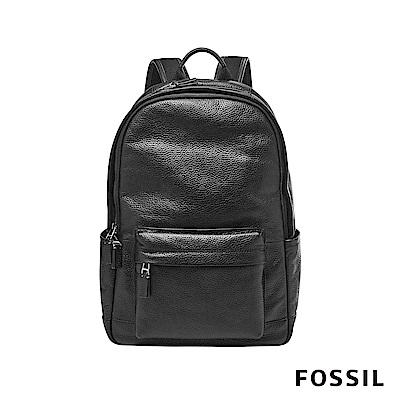 FOSSIL DEFENDER 全真皮經典荔枝皮壓紋後背包-黑色