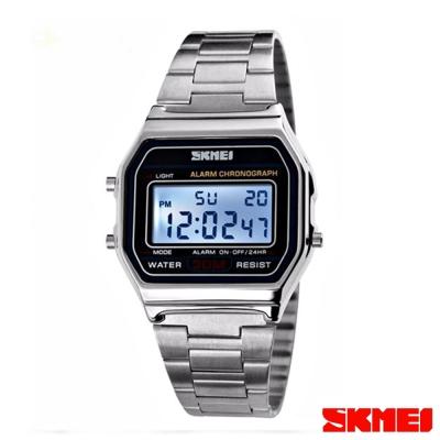 SKMEI時刻美 復古風潮方形經典電子錶-銀