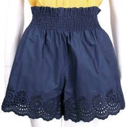 PHILOSOPHY 深藍色縷空雕花鬆緊設計短褲