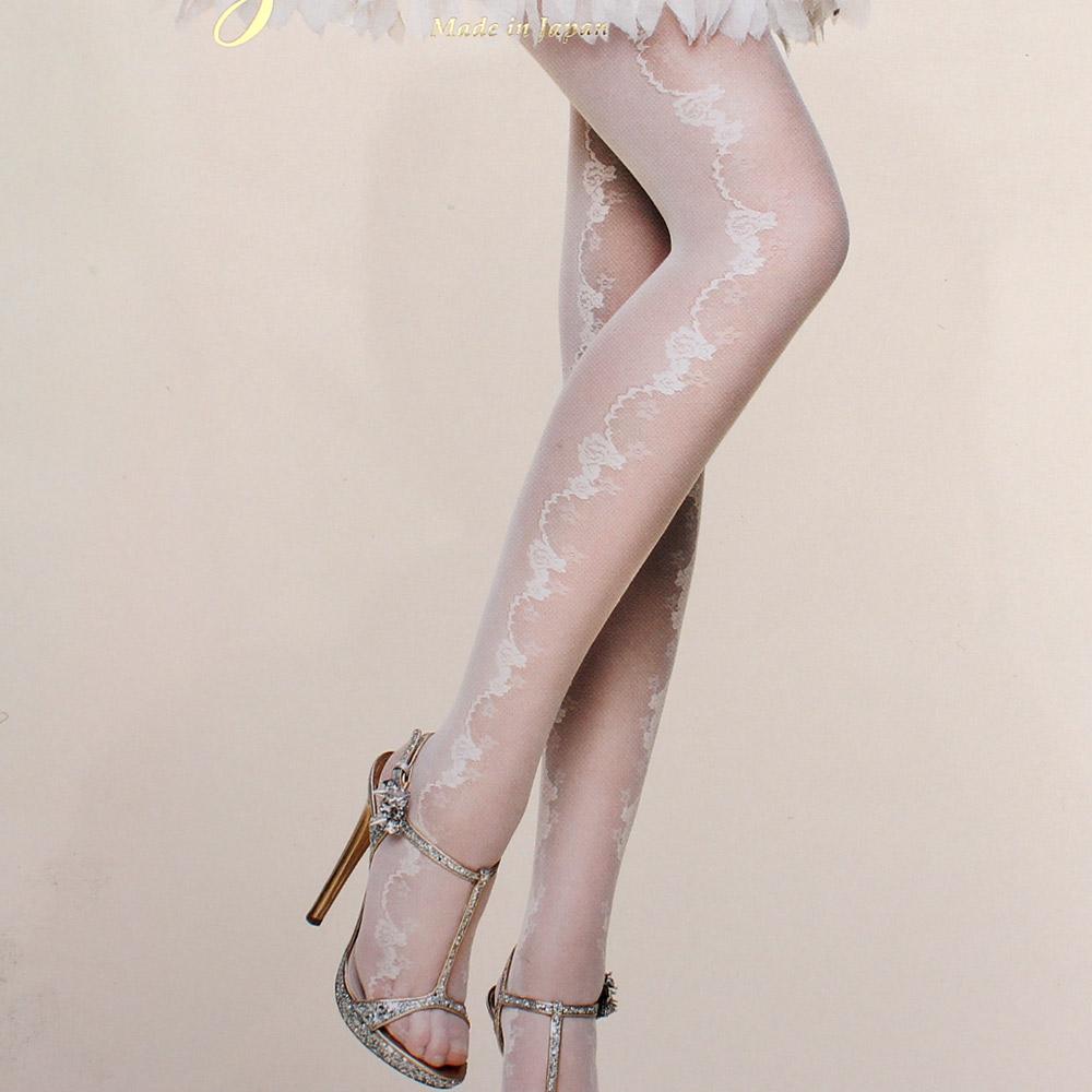 Elizabeth 日本製 花紋網褲襪(側邊玫瑰)共兩色