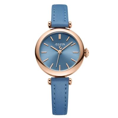 JULIUS聚利時 平行時空簡約皮錶帶腕錶-天空藍/28mm