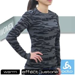 【瑞士 ODLO】限量款 WARM EFFECT 女圓領機能型銀離子保暖內衣/黑迷彩