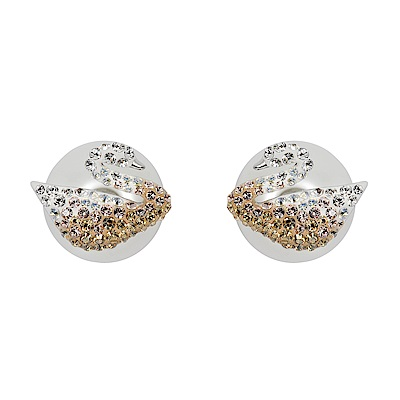SWAROVSKI 施華洛世奇 漸層水晶天鵝造型珍珠耳環