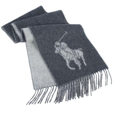 RALPH LAUREN POLO 經典大馬LOGO雙色羊毛圍巾-灰色