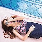 深V後釦露背連身褲裙泳裝‧2色-OB大尺碼