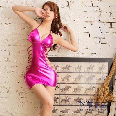 久慕雅黛 性感彈力多重絲帶鏤空皮裙。桃紅色