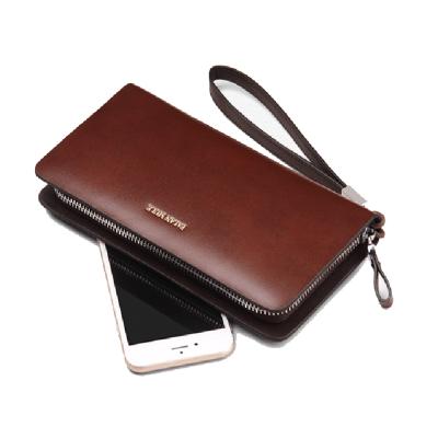 PUSH!男士長夾可放手機的拉鍊手腕帶防搶式二層真牛皮夾零錢包PUSH20咖啡