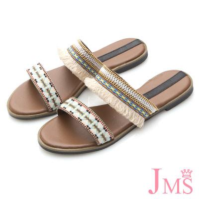 JMS-俏皮甜心民俗風圖騰流蘇/毛球涼拖-杏色