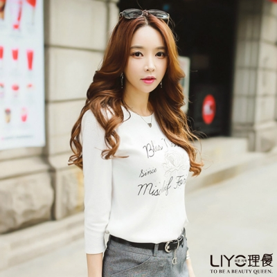 LIYO理優刺繡七分袖棉T恤(白)