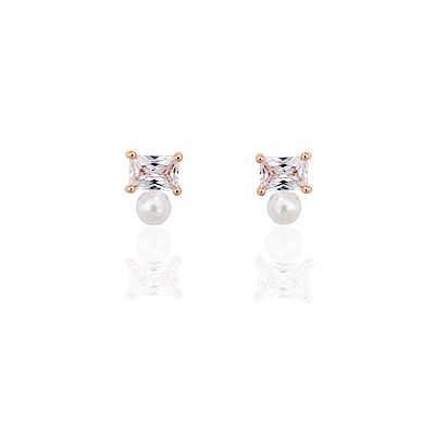 微醺禮物 耳環 正韓 銀針 鍍K 大方鋯 珍珠 鋯石 耳針 耳環