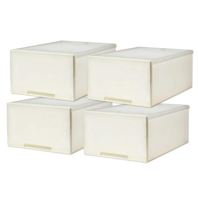 [愛收納]簡約雅白-平板單抽整理箱(30L) (四入)
