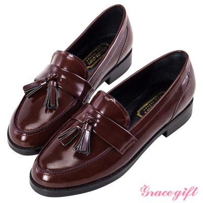 Grace gift-復古流蘇樂福鞋 酒紅