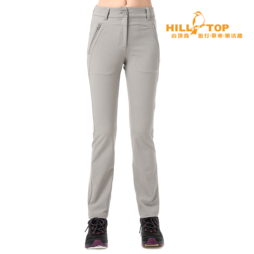 【hilltop山頂鳥】女款吸濕排汗抗UV彈性長褲S07FF2大理石灰